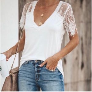 White Lace Detailed Top
